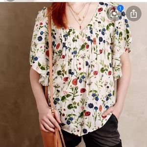 Anthropologie Maya Flutter Sleeve Blouse Floral 6